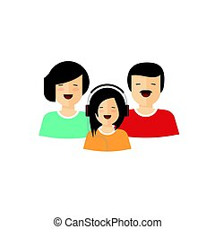 Happy family portrait view vector, flat cartoon mother father and daughter characters with smiling faces, parents and child laughing