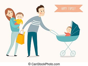 Happy family poster. Cartoon vector eps 10 illustration isolated on white background.