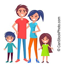 Happy Family Poster with Parents and Two Children