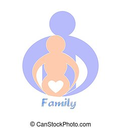 Happy family. Pregnancy - template for design.