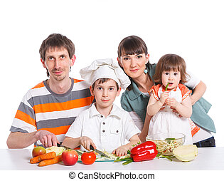 Happy Family Preparing Dinner Together