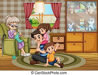 Happy family quarantine at home