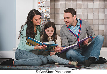 Happy family read together