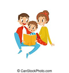 Happy family reading book together vector Illustration on a white background