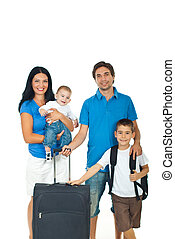 Happy family ready for travel - Happy family of four members...