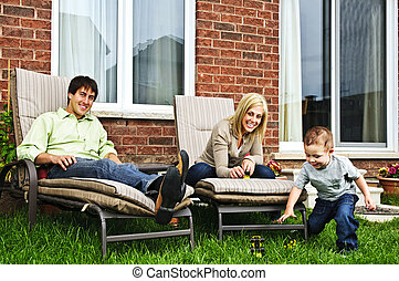 Happy family relaxing at home