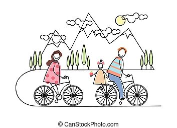 Happy Family Riding Bicycle, Bikes Over Mountains, Parents With Child