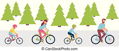 Happy family riding bicycles, isolated on white background in a flat style