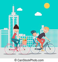 Happy Family Riding Bikes in the City. Woman on Bicycle. Father and Son