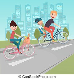 Happy Family Riding Bikes in the City. Woman on Bicycle. Father and Son. Vector illustration