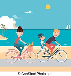 Happy Family Riding Bikes on the Beach. Woman on Bicycle. Father and Son