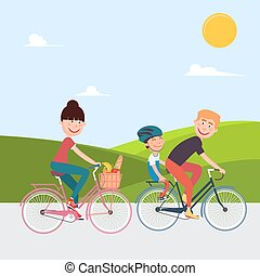 Happy Family Riding Bikes. Woman on Bicycle. Father and Son