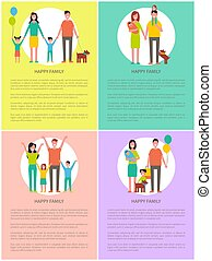 Happy Family Set Vector Banner Cartoon Style.