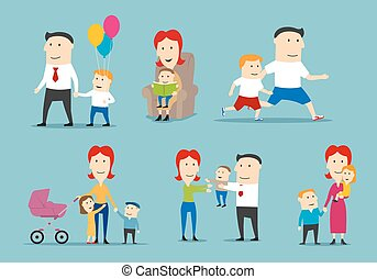 Happy family set with parents and children