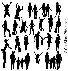 Happy Family Silhouettes - Silhouette of Children Playing...