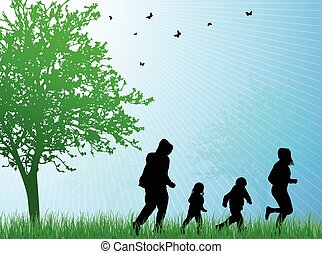Happy family silhouettes