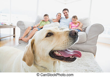 Happy family sitting on couch with their pet yellow labrador...