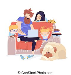 Happy family sitting on the couch with laptop