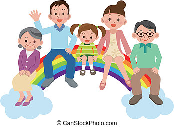 Happy family sitting on the rainbow