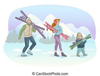 Happy family skiing in snow mountains. Winter landscape. Family sport on vacation or holidays. Wintertime outdoor activities. Design for banner or greeting card. Vector illustration concept
