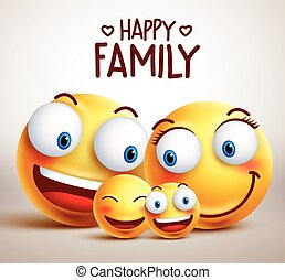 Happy family smiley face vector