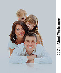 Happy family smiling. Isolated over a white background.