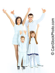 Happy family smiling. Isolated over a white background