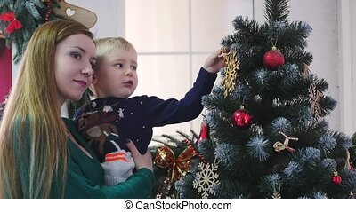 Happy family spend time at a Christmas and New Year holidays...