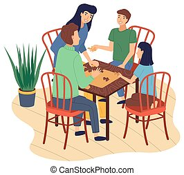Happy family spend time at home, people connecting puzzle pieces, mother, father, son, daughter