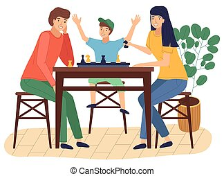 Happy family spend time at home, people playing chess, happy smiling, mother, father, son together