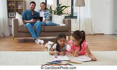 happy family spending free time at home - family, leisure...