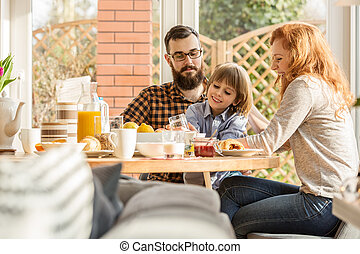 Happy family spending time together