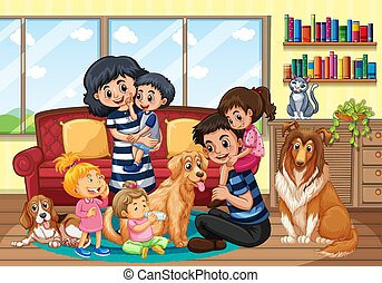 Happy family staying at home