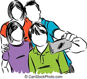 happy family taking picture vector illustration