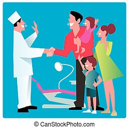 Happy family thanks dentist.