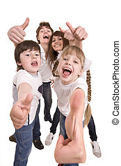 Happy family throw out thumb. Isolated.
