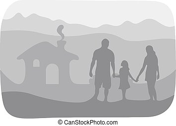 Happy family together at their house vector illustration isolated on white background. Paper cut style without shadow. Using shade of gray colors. Editable separated layer.
