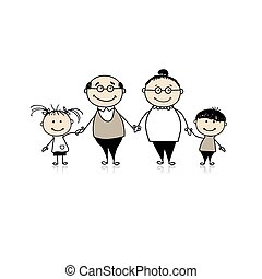 Happy family together - grandparents and grandchildren