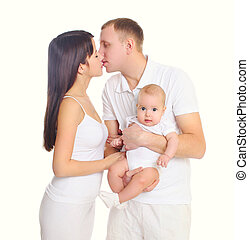 Happy family together, mother and father with baby on a white background
