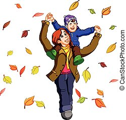 Happy family together on autumn playing with leaves