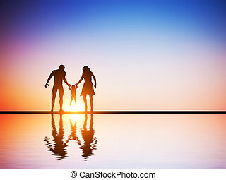 Happy family together, parents and their child at sunset,