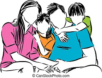 happy family together vector illustration