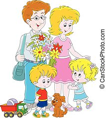 Happy family together - Vector illustration of a mother, a ...