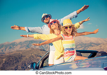 Happy family travel by car in the mountains - Happy family...