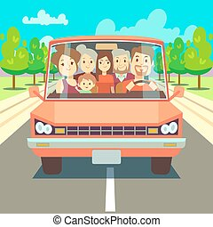 Happy family traveling by car driving on road. Vector illustration