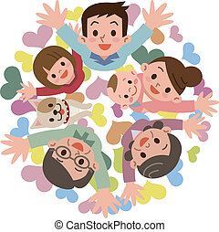 Happy family - Vector illustration.