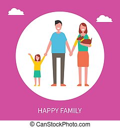 Happy Family Vector Poster with Parents, Daughter