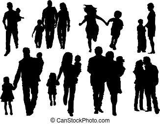 Happy family - Vector set of happy family silhouettes