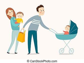 Happy family walking. Cartoon vector eps 10 illustration isolated on white background.