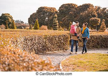Happy family walking in park
